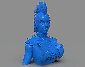 Stylized Punk Storm Bust 3D print model