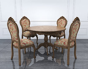 Classical Dinning Table Chair Set 3D