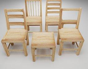 3D asset VR / AR ready Wood chair