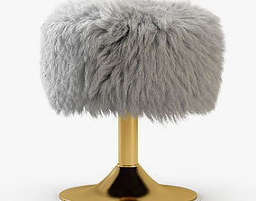 White Faux Fur Stool 3D