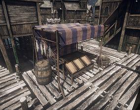 Medieval Lake Village stalls 3D asset