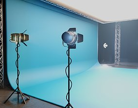 professional studio and light setup scene 3D model