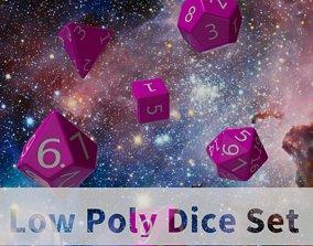 Pink Plastic Dice Set 3D model