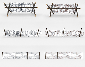 3D asset Lowpoly Barb Wire Obstacle Collection