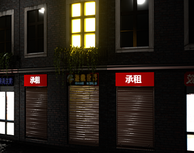 Part Chinese or Japanese house in street 3D asset