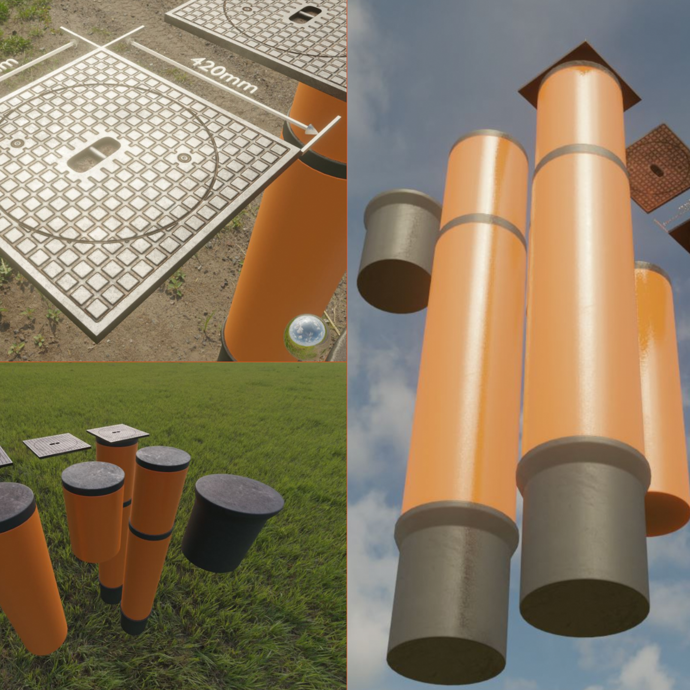 Sewer cover 5 with pipes for an external visualization of a house connection shaft (Blender-2.92 Eevee)