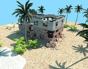 desert abandoned house low poly scene 3D asset