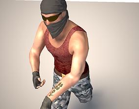 3D asset Terrorist character mercenary