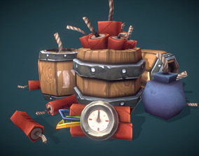 Explosives Barrels n Dynamite - Low Poly 3D model