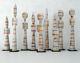 3D Burkina Faso Wood Figures