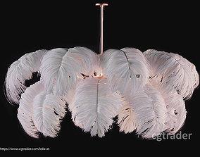 3D Feather Modern Chandelier Vray - CORONA - FBX - OBJ