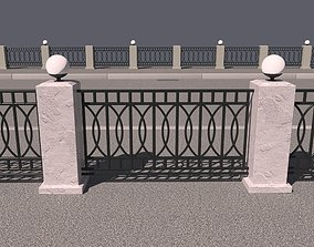 3D model Iron fence with lights
