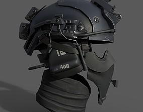 3D asset Military scifi helmet low poly