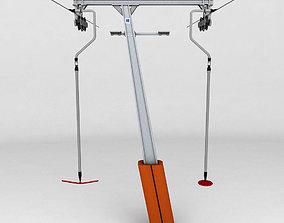 3D Ski lift pole rod 2