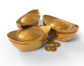 Chinese Gold Ingot With Lucky Word 3D model