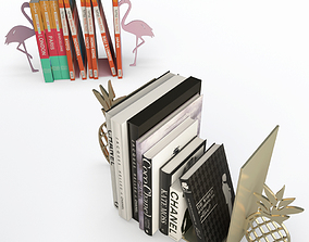 Books end Pineapple and Flamingo 3D model