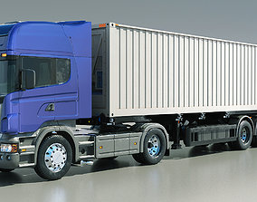 Scania truck R580 With Container Refrigerator 3D