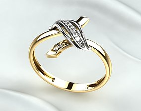Golden Ring with Diamonds 3D printable model