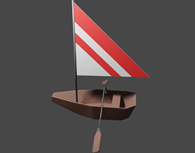 Little boat with sail 3D asset