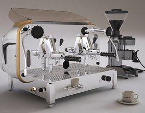 Faema e61 espresso machine and FP Grinder with a coffee 3D