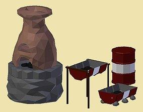 3D model realtime PACK 003 Furnace Barbecue Barrel