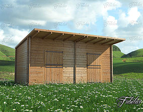 3D model Stables and grass