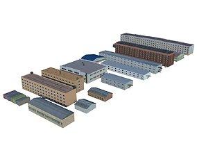 Low poly buildings 3D asset
