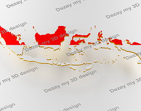 Map of Indonesia land border with flag 3D