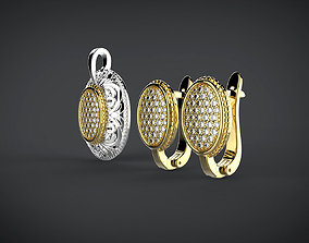 Oval earings and pendant with ornament 3D printable model