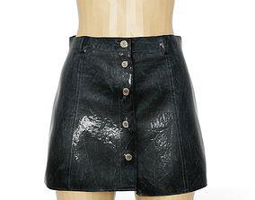 3D model Skirt Shiny Black Reflective Women Clothing