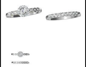 Art deco bridal set ring autocad jewelry 3D print model