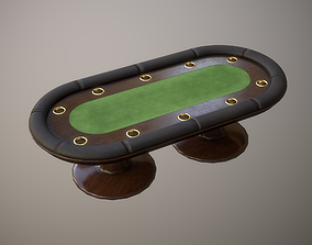 Poker table PBR Low-poly 3D model game-ready