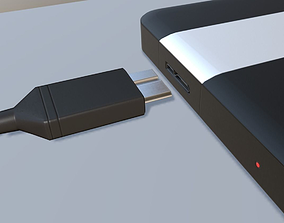 External HDD With USB Cable Rigged Plastic 3D asset