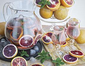 Grapefruits lemonade and fruit 3D