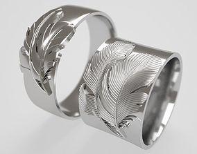 3D print model Wide Feather wedding rings - original