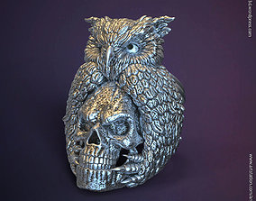SKull and owl vol1 ring jewelry 3D printable model