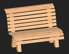 Cartoon wooden bench 9 3D model