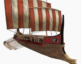 Low-poly Greek Trireme 3D model