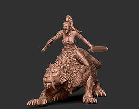 3D printable model figure Smilodon rider - 35mm scale