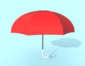 3D model Umbrella red