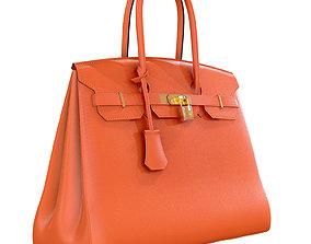 Hermes Birkin Bag Orange Leather 3D