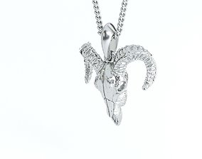 goat skull silver pendant 3D printable model