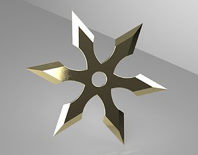 3D print model Ninja Star 6 blades One sided sharpening V