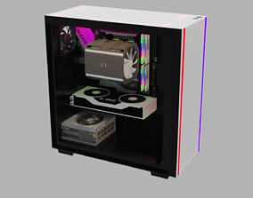 gaming pc setup with 2080 3D model