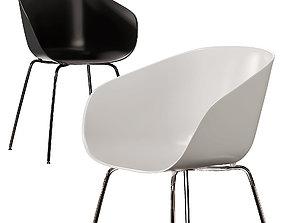 CB2 Poppy Black and White Plastic Chair 3D