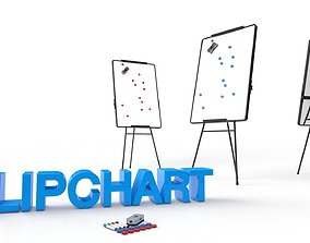3D model Flipchart and accessories