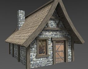 3D model low-poly Medieval House village