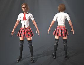 3D asset rigged Girl in a skirt