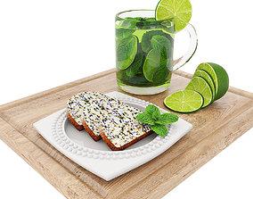 3D Green tea and poppyseed cake