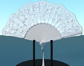 Hand fan lace multicolor low poly 3D model
